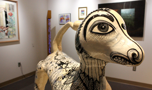 Art Gallery at South Seattle College closeup of painted wood animal