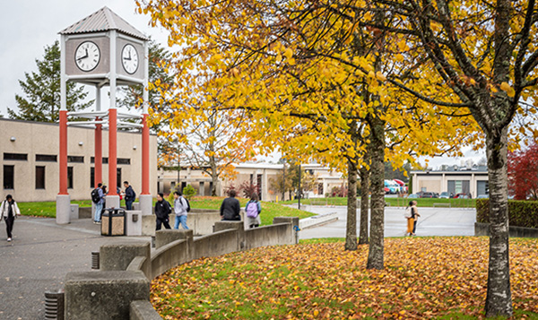 South Seattle College fall leaves and clocktower
