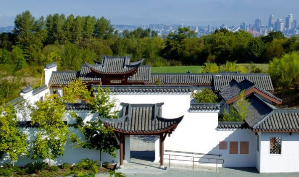 Chinese Garden at South Seattle College large white structure with black roof