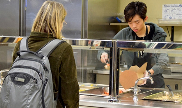 Student ordering at South Seattle College's Food Court
