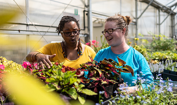 South Seattle College students talking in the Garden Center with plants around