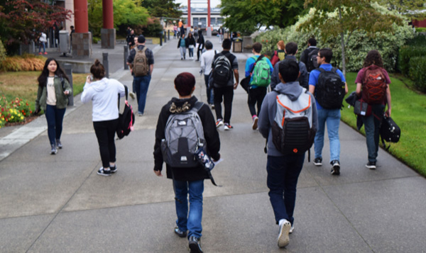 South Seattle College students fill the walking paths outside