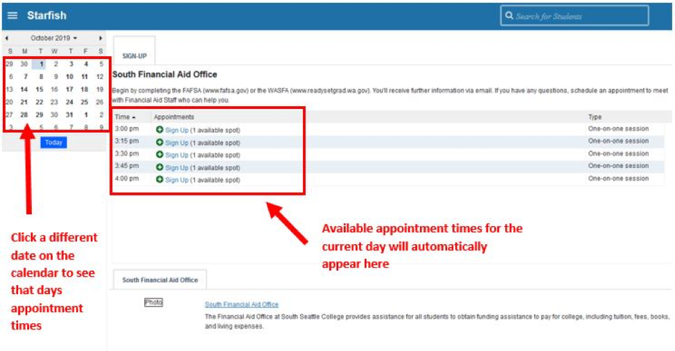 Screenshot of available appt times once logged in
